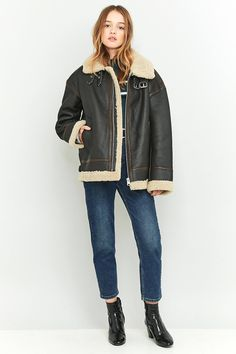 Slide View: 3: Light Before Dark Sheepskin and Brown Leather Jacket
