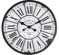 White Wall Clock | Clock With Iron Trim | Large Wall Clock
