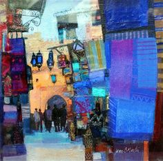 Cityscape Abstract art by Jean B Martin. A border of blues with a city building arch the focal point. Mixed media?