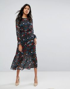 Boohoo Floral Print Midi Dress #http://shopstyle.it/l/fpyC #navy#chic#stylish