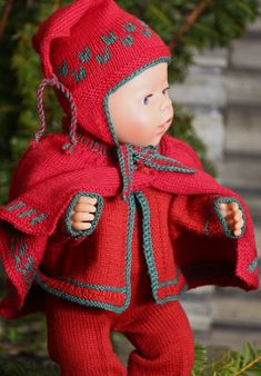 I have designed a ovely red Cape with green borders. I hope you will like to… Crochet Doll Dress, Knitted Dolls, Knit Crochet, Crochet Hats, Knitting Patterns Free, Free Knitting, Free Pattern, Crochet Patterns, Baby Born Kleidung