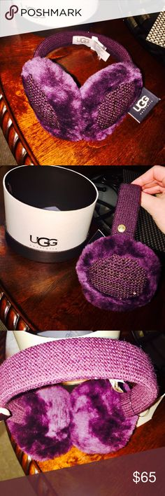 New in Box UGG Australia Earmuffs Vibrant plum color with sequins & fur. Just purchased from Bloomingdale's UGG Accessories Hats