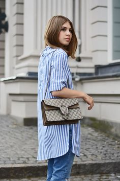 More on www.offwhiteswan.com Berlin Fashion Week 2016 Streetstyle, Striped Lace Up Long Shirt by Zara, Frayed Jeans by Mango, Bag: Gucci Dionysus, Lace Up Sandals by Mango #offwhiteswan #swantjesoemmer