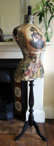 <3 vintage antique decoupaged french wasp waist mannequin c1890