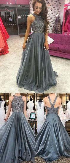 O-Neck Beading A-Line Long Cheap Prom Dresses,Grey Evening Dress For Women #grey #evening #prom #beading #long #okdresses