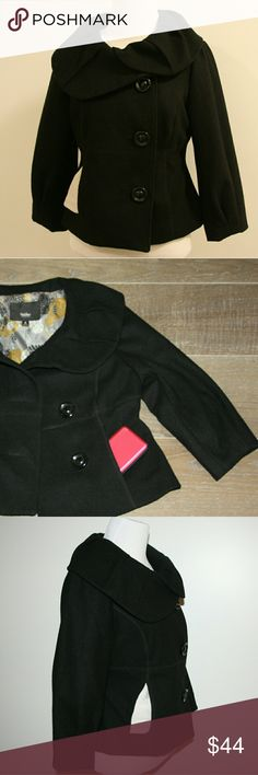 Mossimo Boiled Wool Jacket Mossimo Boiled Wool Jacket Black Fully lined Three Quarter Sleeves Two front pockets Short waisted Flattering fit!  EUC Size Small Mossimo Supply Co Jackets & Coats Blazers