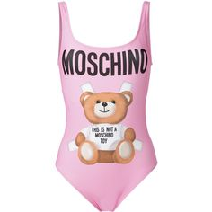 Moschino teddy front swimsuit (440 BGN) ❤ liked on Polyvore featuring swimwear, one-piece swimsuits, pink, pink swim suit, swimsuit swimwear, pink swimwear, low back one piece swimsuit and scoop neck one piece swimsuit
