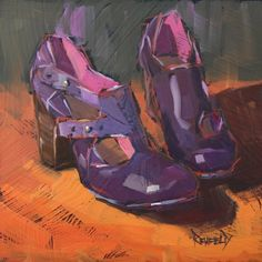 Purple Shoes, original painting by artist Cathleen Rehfeld . Still Life 2, Illustrations, Shoe Illustration, Orange And Purple, Dark Purple, Daily Painters, Artist Sketchbook, Purple Shoes, Painting Still Life