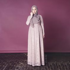 INAYAH | Blush Lace Evening #Gown + Flint Crepe #Hijab www.inayahcollection.com