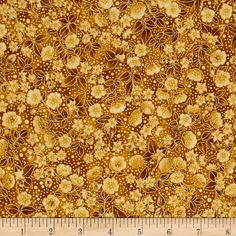 Midnight Sun Metallic Small Flowers Amber from @fabricdotcom  Designed by Ayse Gilbert for Robert Kaufman, this cotton print fabric is perfect for quilting, apparel and home decor accents. Colors include shades of gold. Features gold metallic accents throughout.
