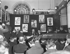 Hugh Gaitskell (1906 - 1963), leader of the Labour Party, holds a press conference at Transport House following his party's defeat in the election, 9th October 1959.