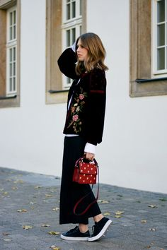 Intricately embroidered velvet is the grown-up way to dress for the new season – extra autumnal points go to jewel-hued designs, think midnight blue slippers and burgundy dresses Adidas Outfit, Adidas Sneakers, Adidas Tubular Viral, Zara, Ootd, Velvet Jacket, Burgundy Dress, Trends, Fall Winter Outfits