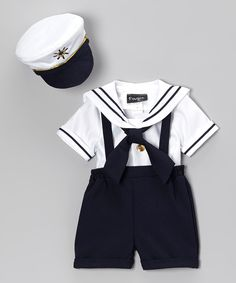 Look what I found on #zulily! Fouger for Kids Navy & White Sailor Shorts Set - Infant, Toddler & Boys by Fouger for Kids #zulilyfinds