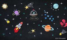 {프랑스자수}우주자수 클러치 만들기 전부터 검정색 원단에 자수를 놓아보고싶었다. 그건바로 '우주'를 ...