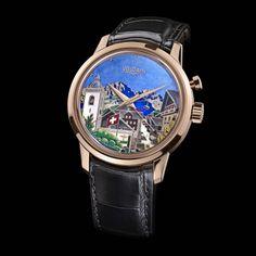 """""""Un été à Champéry"""", superb enamel cloisonné on a 18K Vulcain Automatic Cricket watch!!"""