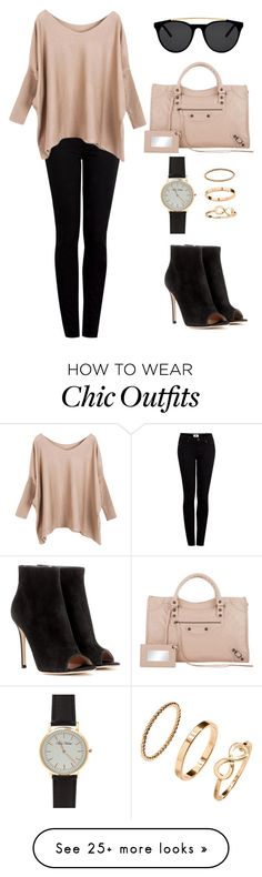 """""""Slouchy Chic Day Look"""" by s246 on Polyvore featuring Gianvito Rossi, Balenciaga, Smoke x Mirrors, H&M, Paige Denim, chic, simple, casualoutfit, fashionset and WardrobeStaples"""