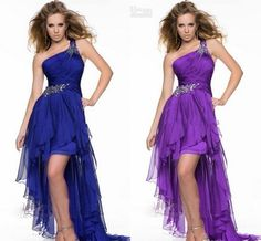 2015 High Low Prom Dress Eleagnt One-Shoulder Special Occasion Party Dress Sexy Bling Crystal Purple/Royal Blue Summer Beach Gowns LH from Sarabridal,$96.34 | DHgate.com