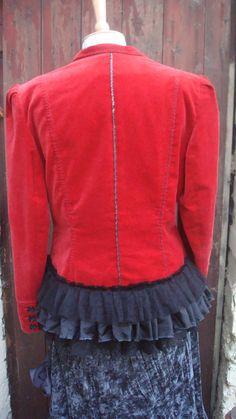 Upcycled Red Jacked Altered Woman's Clothing by BabaYagaFashion, $174.00