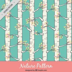 Hand drawn trunks pattern with branches