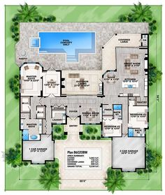 Florida House Plan with Open Layout - floor plan - Main Level Family House Plans, Dream House Plans, House Floor Plans, The Plan, How To Plan, Florida House Plans, Florida Home, Florida Style, Rustic Kitchen Design