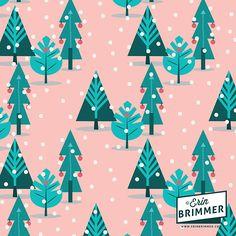 A Christmas Sunset Forest pattern by Pattern Camper & Surface Pattern Designer Erin Brimmer.