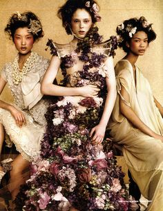'Forward Thinking': Du Juan, Coco Rocha and Chanel Iman by Greg Kadel for Time Style and Design, Spring 2007 Coco in Alexander McQueen Spring Summer 2007 Chanel Iman, Coco Chanel, Couture Fashion, Fashion Art, Editorial Fashion, High Fashion, Fashion Design, Floral Fashion, Fashion 2008