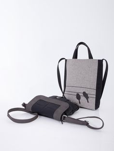 Quilted bag with adjustable belt decorated with metal metal rivets.