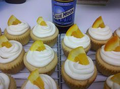 Blue Moon beer citrus cupcakes with orange buttercream Blue Moon frosting! - via So There.  by Amy