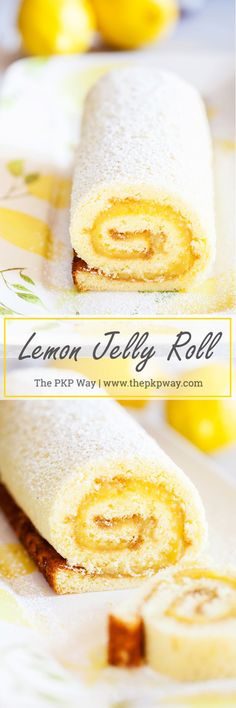 Soft and tender cake filled with lemon curd and rolled into a log makes this Lemon Jelly Roll a beautiful and impressive dessert for your guests this Easter and summer. (Baking Pasta With Egg) Lemon Desserts, Lemon Recipes, Just Desserts, Lemon Curd Dessert, Lemon Curd Cake, Cake Roll Recipes, Dessert Recipes, Lemon Jelly Roll Cake Recipe, Jelly Roll Cakes