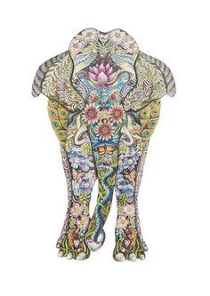 Decorative Indian Elephant fine art giclee by JFDecorativeDesigns, £30.00