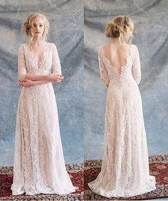 Boho Wedding Dresses Long Sleeve Open Back Lace Beach  Garden Bohemian Wedding