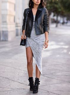 Black leather jacket and boots + gray asymmetric dress. women fashion outfit clothing style apparel @roressclothes closet ideas