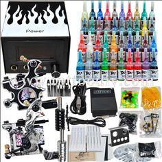 Tattoo Kit 2 Machines Gun 40 color Inks Power needles set