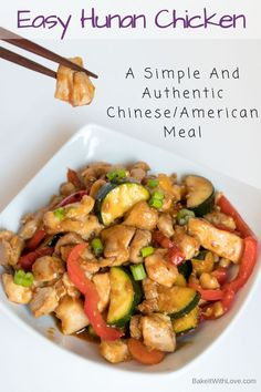 This Hunan Chicken has such a lovely bit of heat to it that is just perfectly balanced. It's not too spicy, it's just the right amount of heat…and that's saying a lot! BakeItWithLove.com | #hunanchicken #chinesetakeout #chickendinner #dinnerideas #familymeals #spicychicken
