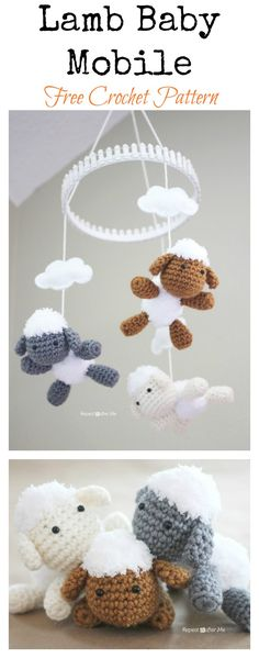 Lamb Baby Mobile Free Crochet Pattern #Crochet #Freepattern #Mobile