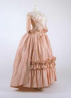 A late 1700s french style day dress. Love the criss-crossing Fuchu on the bodice.