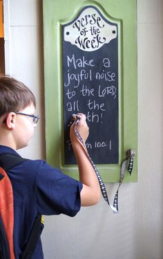 Green Verse of the Week Chalkboard  Scripture Memory  kijsa etsy