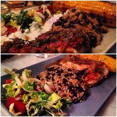wieder mal ein gemeinsames, sonntägliches #cook #book #cooking by #jamieolivers #minutesmeals - killer jerk chicken with rice&beans, refreshing chopped salad & chargrilled corn
