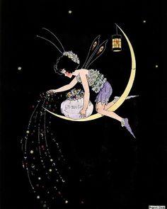 Smile Dust - reproduced from the original Margaret Clark illustration Vintage Fairies, Vintage Art, Fantasy Kunst, Fantasy Art, Illustrations, Illustration Art, Arte Fashion, Moon Fairy, Fairytale Art