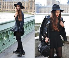 Romwe Striped Top, Hat And Jacket, Dr. Martens Doc Martens, Zara Skirt