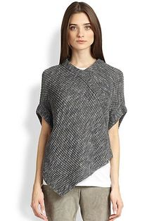 Brunello Cucinelli  Knit Tweed Poncho <<>>SAKS @Ali Tong   Knittybutton could you knit something like this??