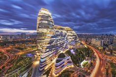 Wangjing SOHO night panorama, Beijing, China