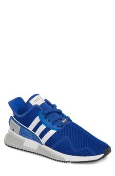 Free shipping and returns on adidas EQT Cushion ADV Sneaker (Men) at Nordstrom.com. High-performance detailing brings runner-inspired comfort to a sneaker shaped from breathable stretch mesh with elastic banding anchoring the tongue for a snug, stay-put fit. Webbed 3-Stripes link the lacing cage to the midsole for reliable lockdown, while the molded foam sole and rubber herringbone tread provide lightweight flexibility and traction.