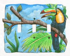 Painted Metal Light Switch Cover - Tropical Toucan - 3 holes - Switchplate -  - Tropical design - Tropical wall art - Caribbean decor - Metal tropical art - Tropical decorations - Tropical art - Caribbean wall decor- Tropical home decor - Hand painted Haitian steel drum metal art