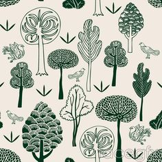 Hand-painted forest and Dove vector