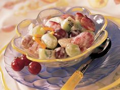 Sour Cream-Honey Fruit Salad.  We made a salad similar to this except we used confectioners sugar. I think the honey makes it more nutritious. It's so refreshing and delicious!