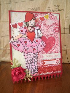 Valentine Party Girl digi stamp