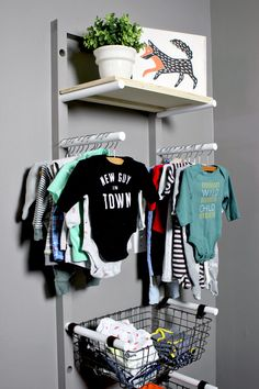 Diy baby clothes rack baby clothes rack kids clothing display and storage for nursery gray diy . Storing Baby Clothes, Baby Clothes Storage, Diy Clothes Rack, Clothing Storage, Clothing Hacks, Kids Clothing, Infant Clothing, Clothing Sets, Personalized Baby Clothes