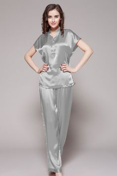 3201ee5dd1 22 Momme Half Buttoned Front Silk Pajamas Set