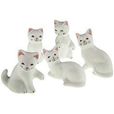 Lucky Cat neko Handmade Painted Ceramic Japanese /Chinese (Set of 5, White) by Tada-Tada
